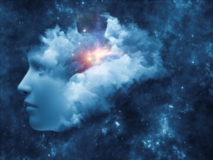 Universal Mind series. Visually pleasing composition of human head and fractal clouds to serve as background in works on mind dreams thinking consciousness and imagination